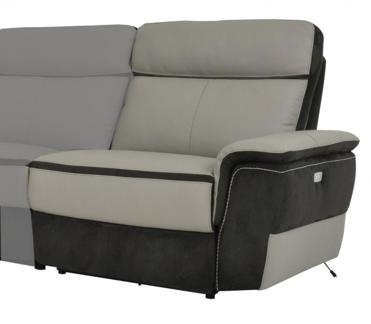 Laertes Power Right Side Reclining Chair - Top Grain Leather/Fabric - Taupe Grey