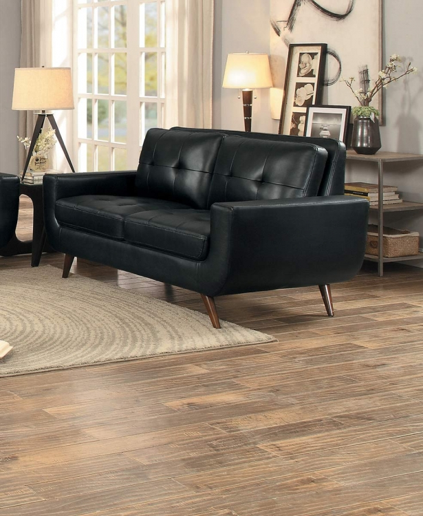 Deryn Love Seat - Black Leather Gel Match