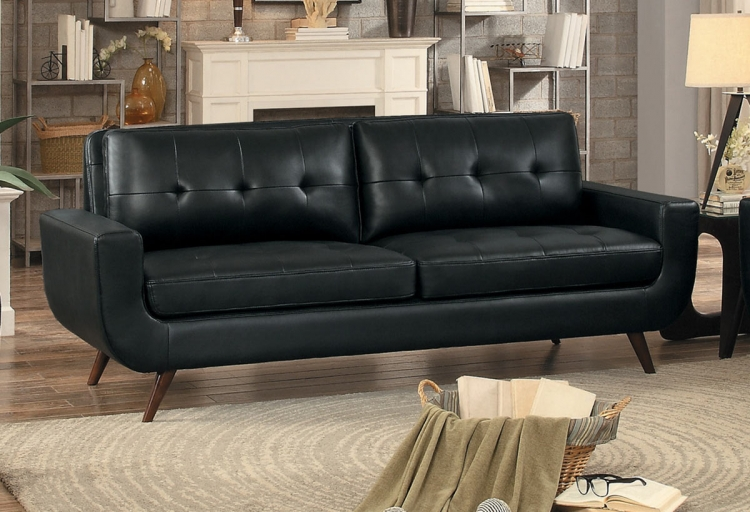 Deryn Sofa - Black Leather Gel Match
