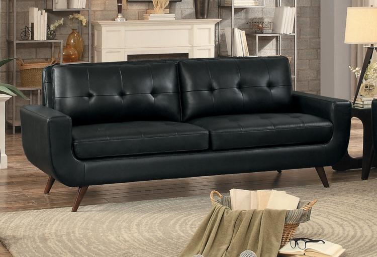 Deryn Sofa - Black Leather Gel Match