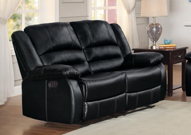 Jarita Double Reclining Love Seat - Bi-Cast Vinyl - Black