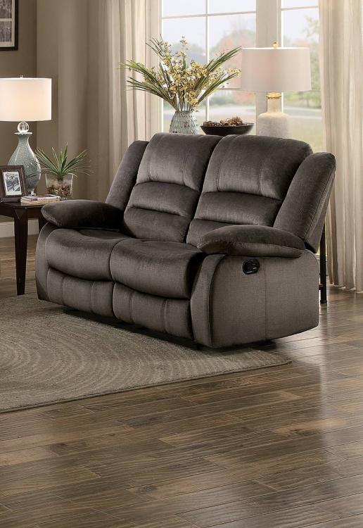 Jarita Double Reclining Love Seat - Chocolate Fabric