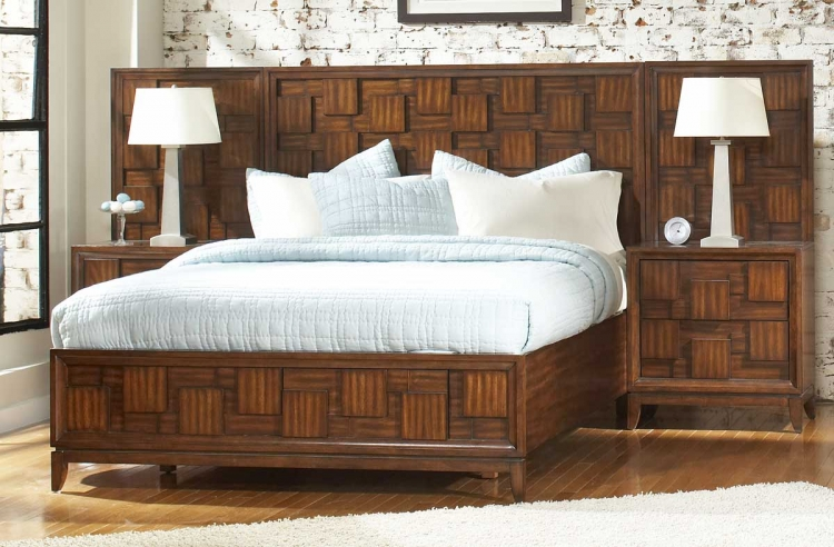 Campton Platform Bed with Storage Footboard and Night Stands - Homelegance