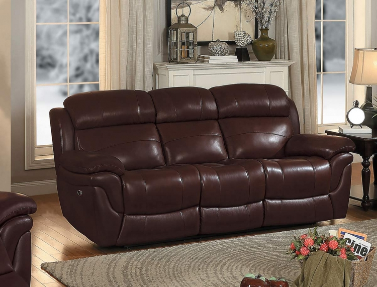 Spruce Double Reclining Sofa - Brown Top Grain Leather Match