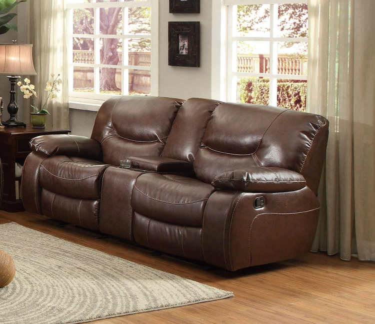 Leetown Double Glider Reclining Love Seat with Center Console - Dark Brown