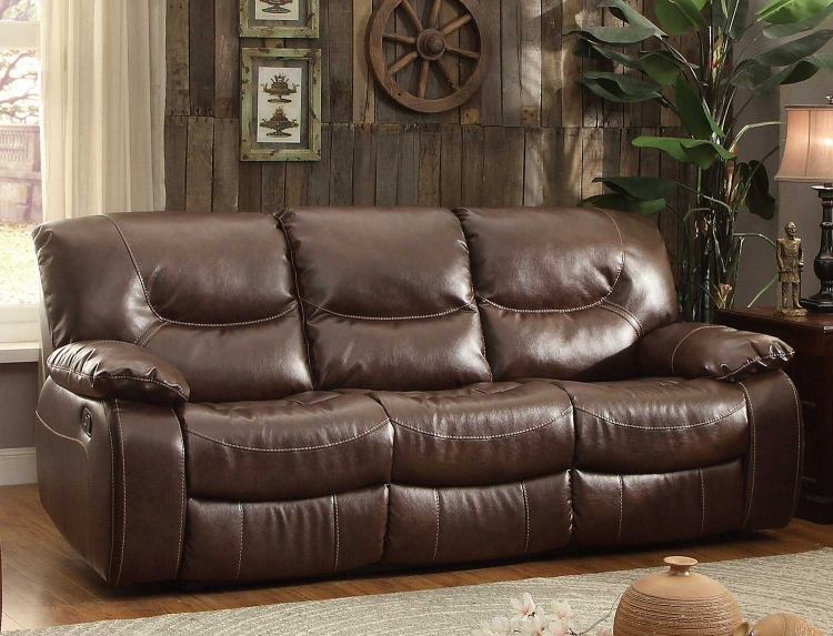 Leetown Double Reclining Sofa - Dark Brown