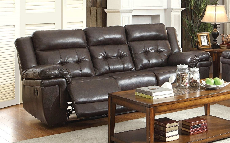 Anniston Double Reclining Sofa - Dark Brown