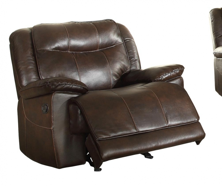Wasola Glider Reclining Chair - Leather Gel Match - Dark Brown