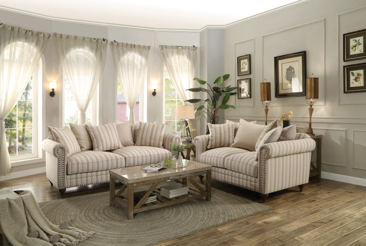 Hadleyville Sofa Set - Polyester - Neutral tone Striped