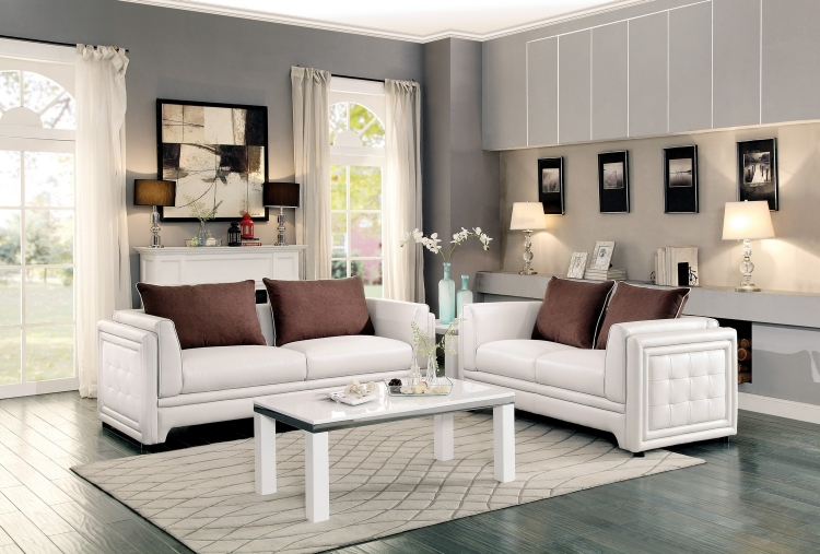 Azure Sofa Set - Faux Leather - Off White