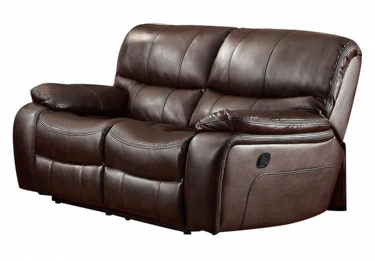 Pecos Double Reclining Love Seat - Leather Gel Match - Dark Brown