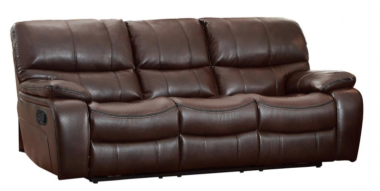 Pecos Double Reclining Sofa - Leather Gel Match - Dark Brown