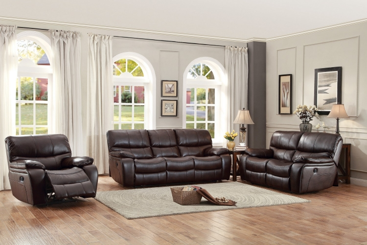 Pecos Power Reclining Sofa Set - Leather Gel Match - Dark Brown