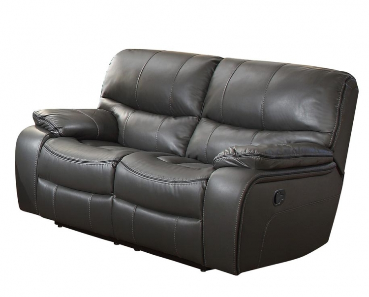 Pecos Double Reclining Love Seat - Leather Gel Match - Grey
