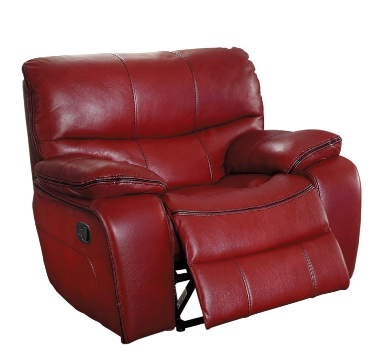 Pecos Glider Reclining Chair - Leather Gel Match - Red
