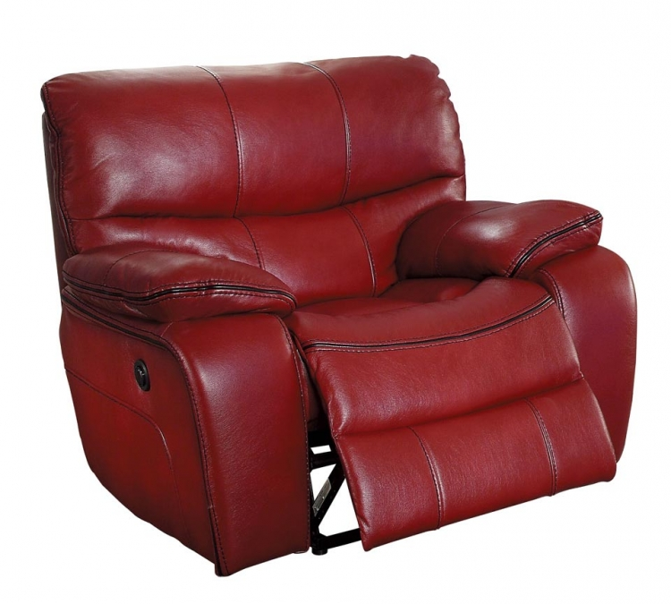 Pecos Power Reclining Chair - Leather Gel Match - Red