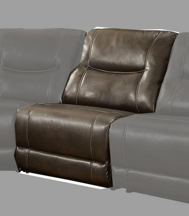 Columbus Armless Reclining Chair - Breathable Faux Leather - Dark Brown