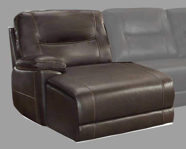 Columbus Left Side Chaise, Push Back Recliner - Breathable Faux Leather - Dark Brown
