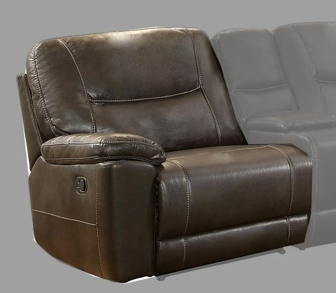 Homelegance Columbus Left Side Reclining Chair - Breathable Faux Leather - Dark Brown