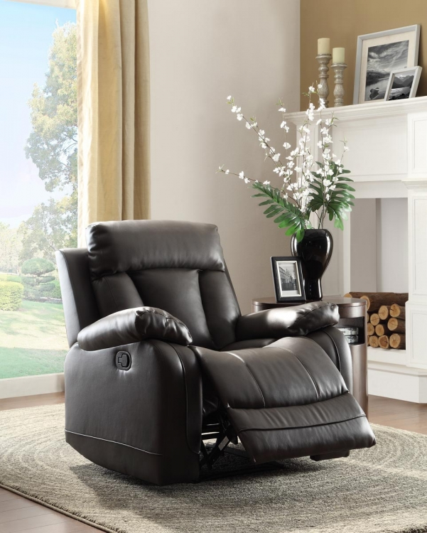 Ackerman Reclining Chair - Black Bonded Leather Match