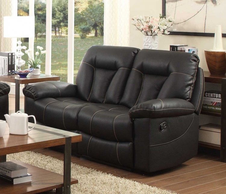 Cade Double Reclining Love Seat - Black Bonded Leather Match