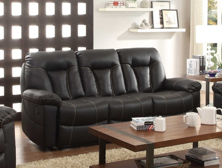 Cade Double Reclining Sofa - Black Bonded Leather Match