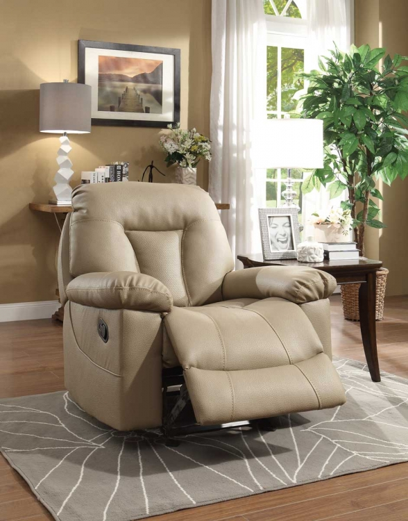 Cade Glider Reclining Chair - Taupe Bonded Leather Match