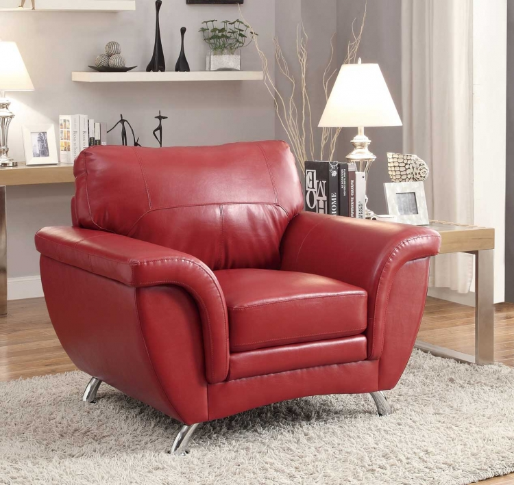 Chaska Chair - Red Bonded Leather Match