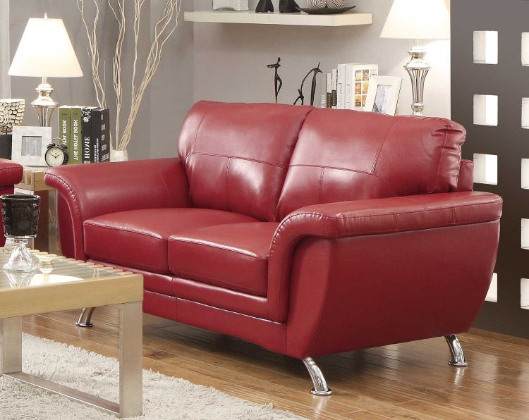 Chaska Love Seat - Red Bonded Leather Match