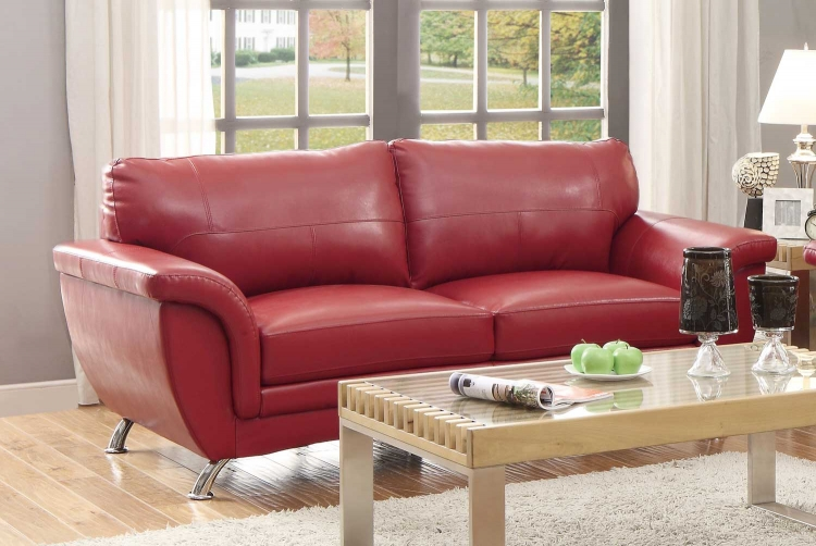 Chaska Sofa - Red Bonded Leather Match