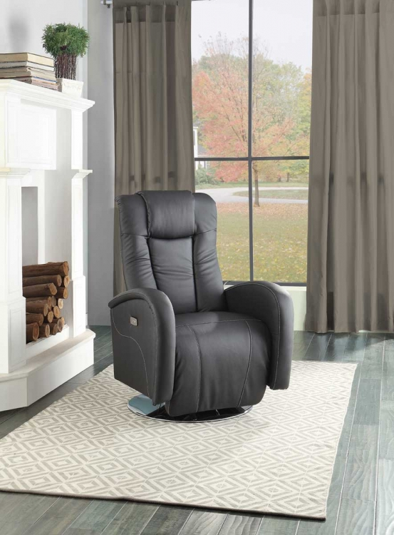 Lucio Swivel Power Reclining Chair - Black Bi-Cast Vinyl