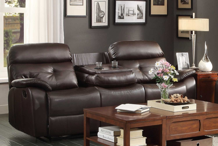 Evana Double Reclining Sofa With Drop Down Center Cup Holders Dark Brown Bonded Leather