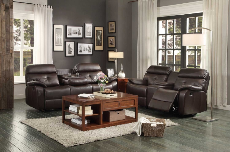 Evana Reclining Sofa Set - Dark Brown Bonded Leather Match