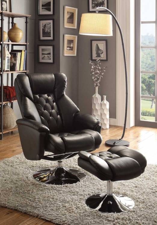 Aleron Swivel Reclining Chair with Ottoman - Black Bonded Leather Match