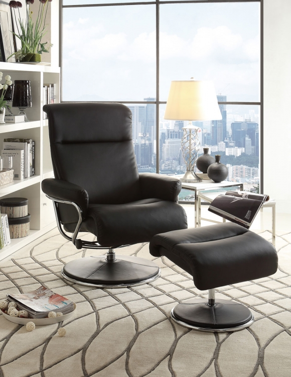 Caius Black Swivel Reclining Chair with Ottoman - Black Bonded Leather Match