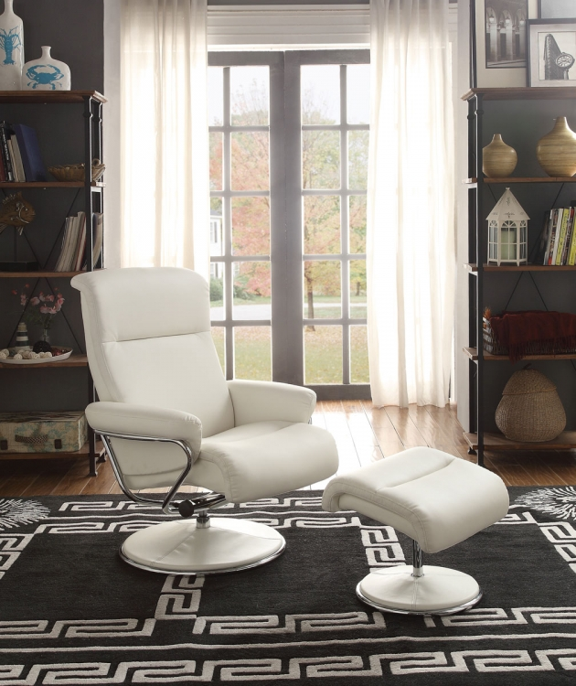 Caius White Swivel Reclining Chair with Ottoman - White Bonded Leather Match
