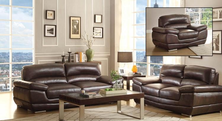 Triplett Sofa Set Dark Brown