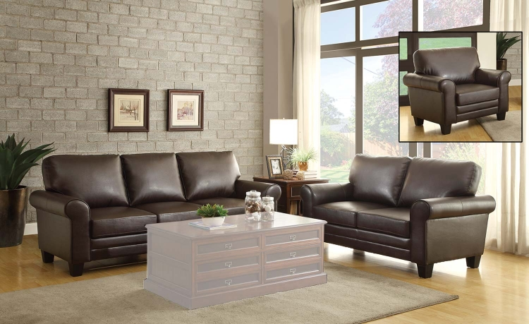 Hume Sofa Set - Dark Brown
