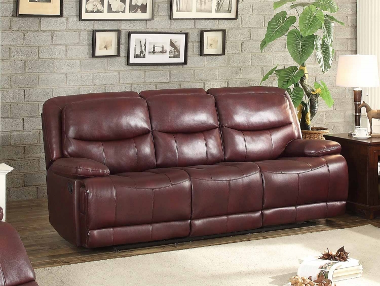 Risco Double Reclining Sofa - Burgundy