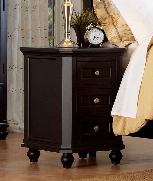Hanna Night Stand in Black-Homelegance