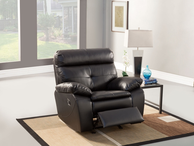 Wallace Glider Recliner Chair - Black - Bonded Leather Match - Homelegance