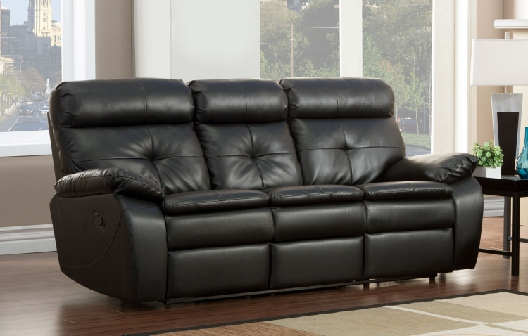 Wallace Double Recliner Sofa - Black - Bonded Leather Match - Homelegance