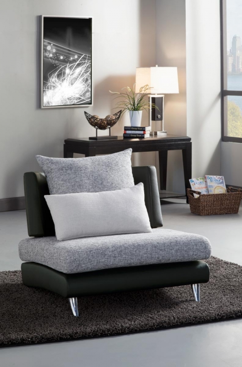 Renton Chair - Grey/Black - Polyester & Bi-Cast Vinyl - Homelegance