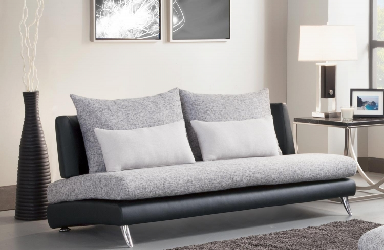 Renton Armless Sofa - Grey/Black - Polyester & Bi-Cast Vinyl