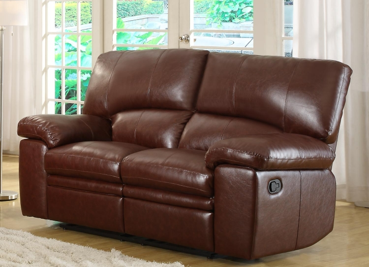 Kendrick Double Recliner Love Seat - Brown - Bonded Leather Match - Homelegance