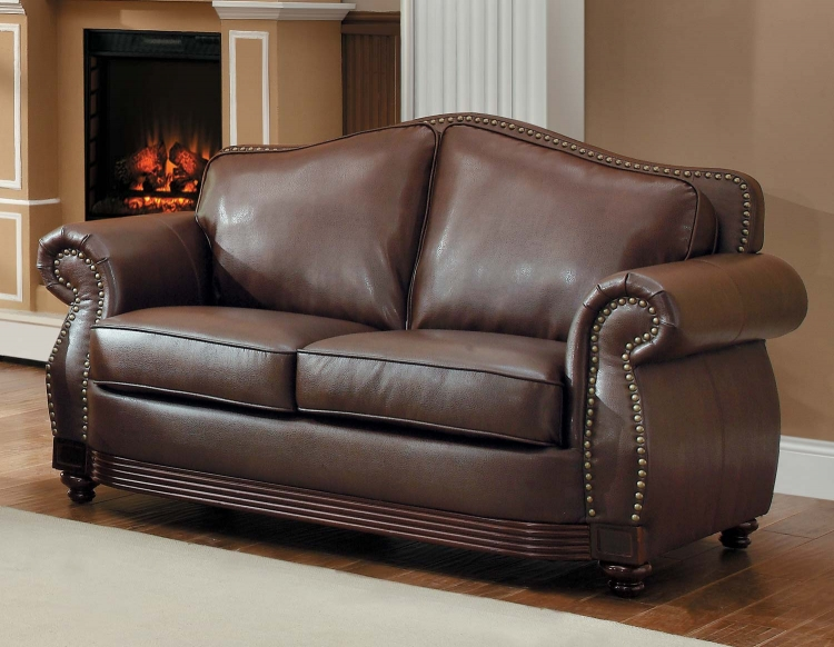 Midwood Bonded Leather Love Seat - Dark Brown - Homelegance