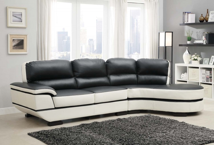 Hanlon Sectional Sofa - Chocolate-White - All Bonded Leather