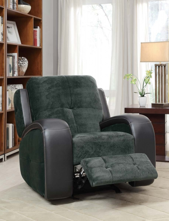 Flatbush Glider Recliner Chair - Textured Plush Microfiber - Black Bi-Cast Vinyl Cover - Homelegance