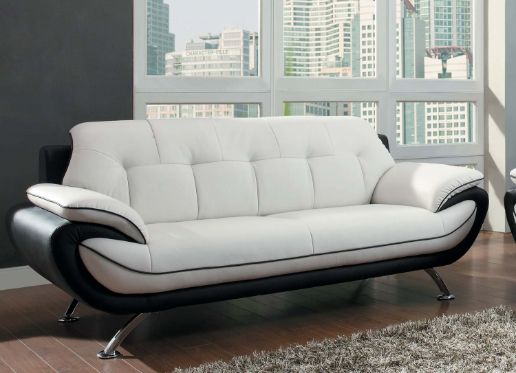 Elroy Sofa - Black and White - Bi-Cast Vinyl - Homelegance
