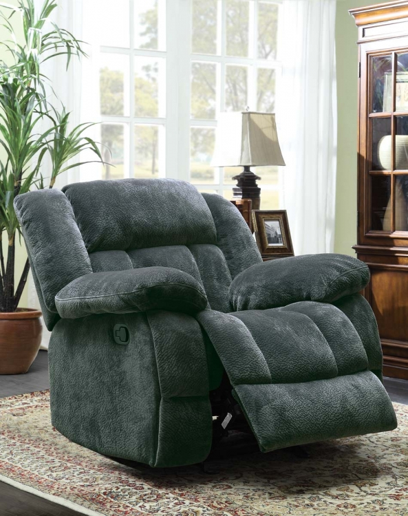 Laurelton Glider Reclining Chair - Charcoal - Textured Plush Microfiber